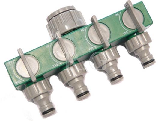 regulierbarer 4 Fach Verteiler für Gartenschlauch Verteiler Schlauchverteiler